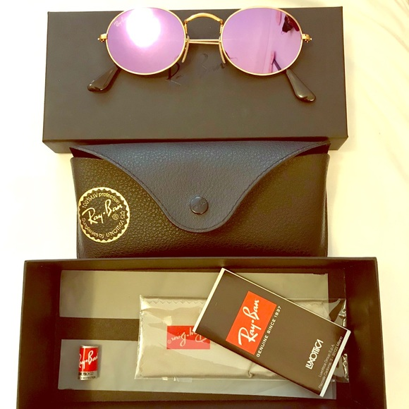 424cecbe45 Ray-Ban oval flat lilac lenses gold frame NWOT. M 5aba37d78df4705d23291dab